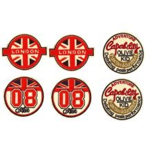 6-Count British Style Creative Badge Round Armband Patchs