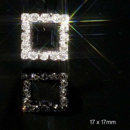 10 x Square Silver Diamond Diamante Embellishments Black Center