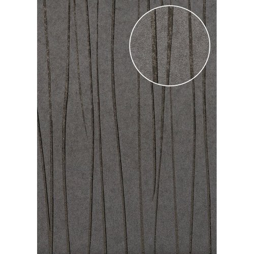 Atlas COL-568-1 Stripes wallpaper shimmering platinum-grey 5.33 sqm