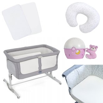 Chicco Next To Me Dream Side-Sleeping Crib PLUS Accessories - Graphite/Pink (Bundle 7P)