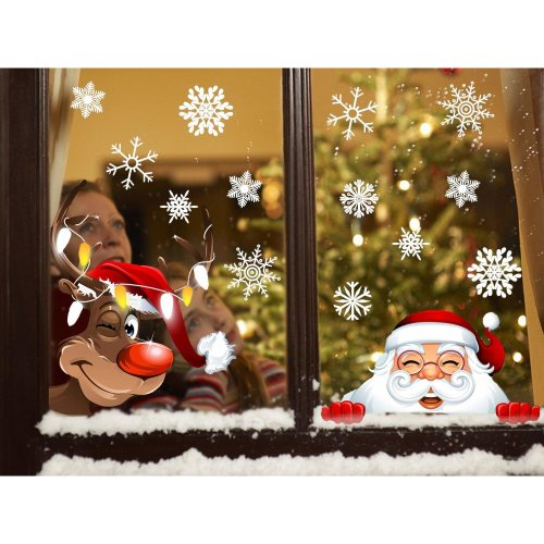 UMIPUBO Christmas Window Stickers Santa Claus Elk 42pcs Snowflake Window Clings Fabulous Static PVC Stickers for Christmas Home/Shop/Party Window...