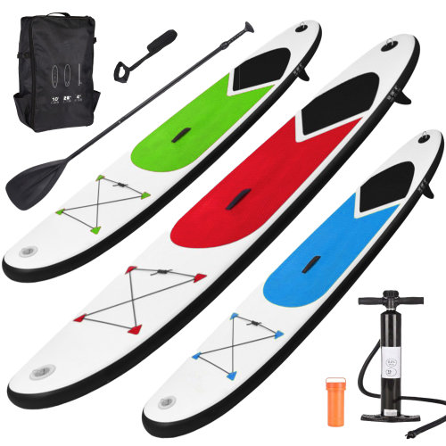 Inflatable Stand Up Paddle Board SUP 305cm/10ft with Adjustable Paddle, Ankle Strap, Pump & Carry Bag