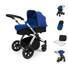 Ickle Bubba Stomp V2 All in One Travel System - Blue on Silver Frame