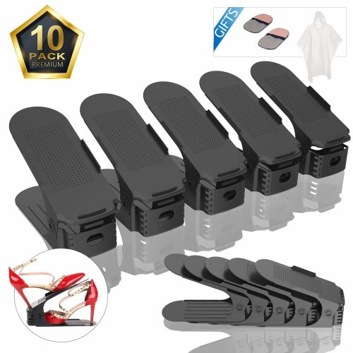 10 PACK Adjustable Shoe Slot Organizer, Space Saver Shoe Holder, with Gift Raincoat and 2 Shoeshine Durable Shoe Stacker, Pack of 10 (Black)