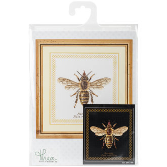 """Honey Bee On Aida Counted Cross Stitch Kit-8""""X8.25"""" 18 Count"""