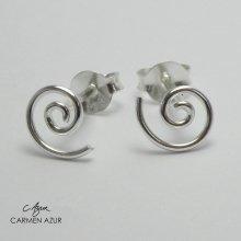 Carmen Azur Silver Spiral Earrings | Spiral Stud Earrings