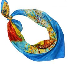 High-gradel Tree Painting Small Squares Female Silk Scarves,Blue