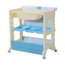 Homcom 3 tier Baby Changing Baby Bath and Dresser w/ Wheels (Blue)