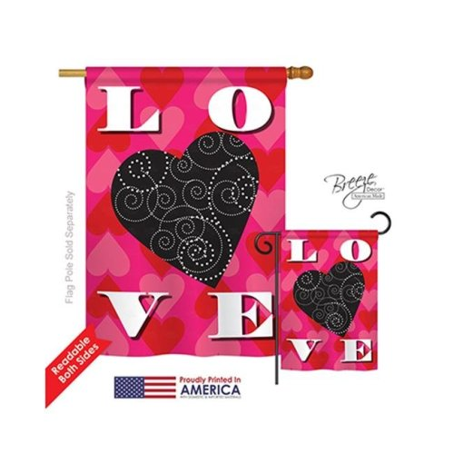 Breeze Decor 01050 Valentines Love Heart 2-Sided Vertical Impression House Flag - 28 x 40 in.