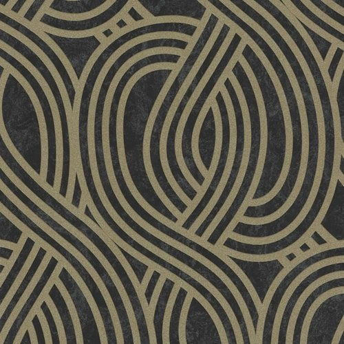 NEW P&S WAVE STRIPE TEXTURED GLITTER MOTIF METALLIC EMBOSSED WALLPAPER ROLL[BLACK GOLD 13345-80]