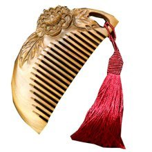 Peony RED Macrame Palo Santo Comb  Anti-static Wooden Comb