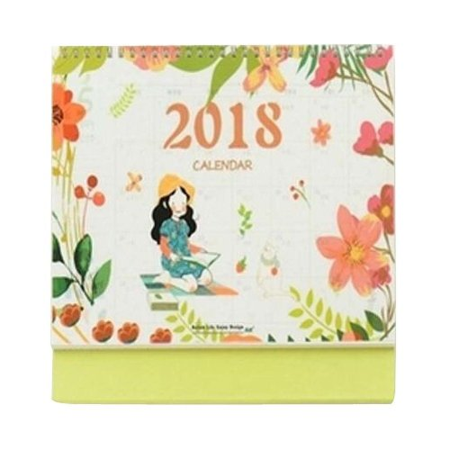 Elegant Flowers Style 2017-2018 Office/Home Calendar Desk Calendar-Green