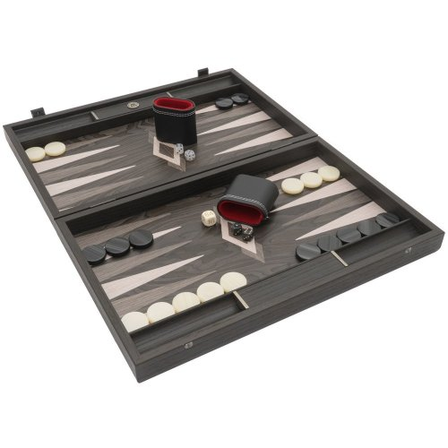 The Manopoulos Ebony and Grey Oak Luxury Backgammon Set with Philos Deluxe Cups