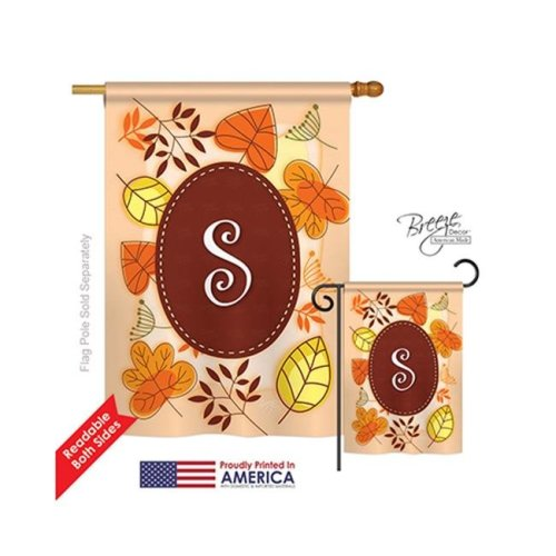 Breeze Decor 30045 Autumn S Monogram 2-Sided Vertical Impression House Flag - 28 x 40 in.
