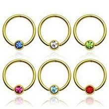 Crystal Ball Gold Plated Surgical Steel CBR Captive Bead Ring Universal Piercing Body Jewellery