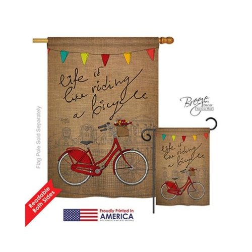 Breeze Decor 09044 Sports Bicycle Life 2-Sided Vertical Impression House Flag - 28 x 40 in.