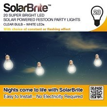 Solar Brite Deluxe 20 White LED Festoon Party Lights Solar Powered Clear Bulb Eco friendly