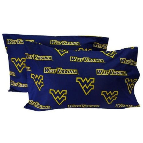 College Covers WVAPCKGPR West Virginia Printed Pillow Case- King- Set of 2-  Solid