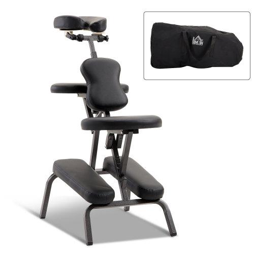 HOMCOM Foldable Massage Chair, Steel-Black