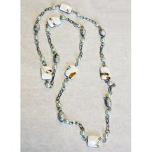 PEARL - Polished Natural Stone and Pearl Bead Necklace - Cream
