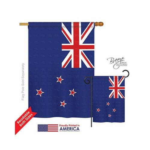 Breeze Decor 08207 New Zealand 2-Sided Vertical Impression House Flag - 28 x 40 in.