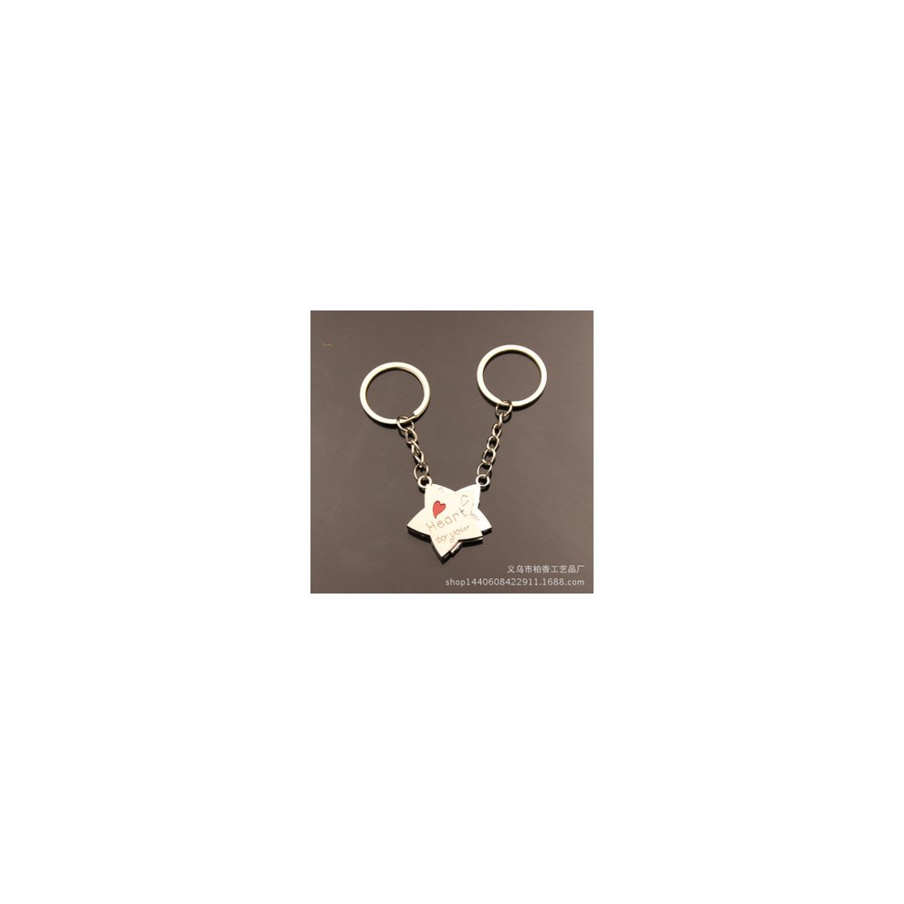a62b8476e2 Heart To You Love Heart Stars Couple Keyrings Lovers Puzzle Keyring Set Silver  Metal Key Chains ...