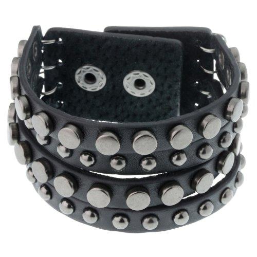 Black Leather & Gunmetal Studded Bracelet for Men by Urban Male