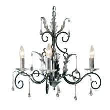 Black/Silver 3lt Chandelier - 3 x 60W E14 by Happy Homewares