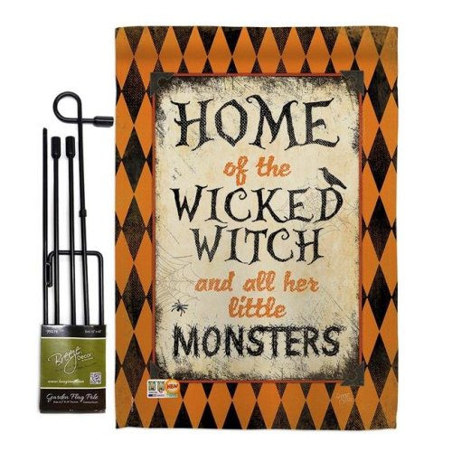 Breeze Decor BD-HO-GS-112059-IP-BO-D-US14-SB 13 x 18.5 in. Wicked Home Fall Halloween Vertical Double Sided Mini Garden Flag Set with Banner Pole
