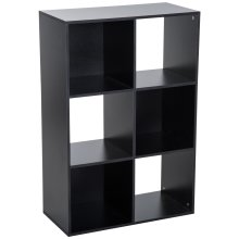 HOMCOM 3-tier 6 Cubes Storage Unit Particle Board Cabinet Bookcase Organiser Home Office Shelves Black