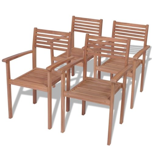 vidaXL Stackable Garden Chairs 4 pcs Solid Teak Wood