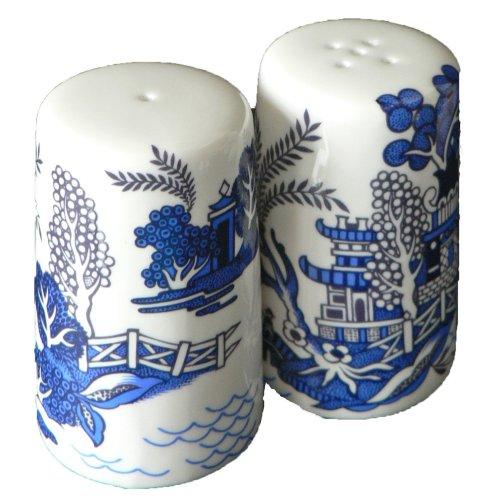 Blue willow pattern salt and pepper set - Bone china blue willow cruet
