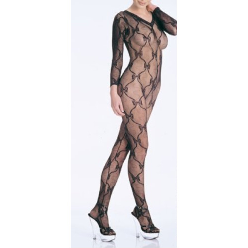 Leg Avenue Women's 1-Piece Bow Lace Bodystocking, One Size, Black