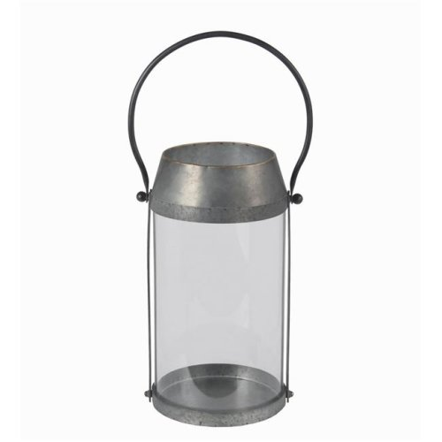 Privilege 21034 Iron Candle Lantern, Silver - Large