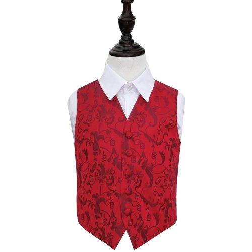 Burgundy Floral Wedding Waistcoat for Boys 32'