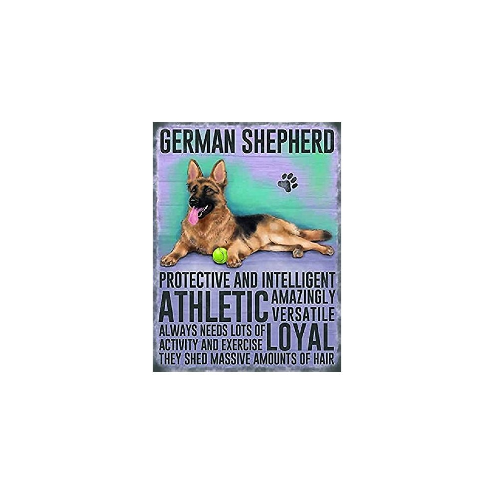 b167e4f13 German Shepherd Dog Metal 20cm x 15cm Sign - Protective & intelligent,  ATHLETIC, shed. >