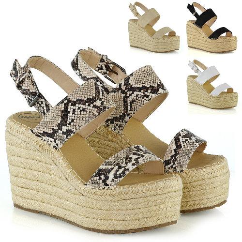 Womens Platform Wedge High Heel Peep Toe Ladies Espadrille Summer Ankle Strap Shoes