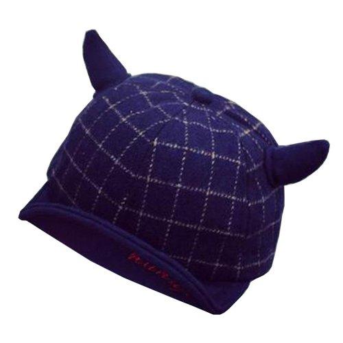 [Horns Navy] Fashion Baby Woolen Cap Winter Baseball Cap for Kids