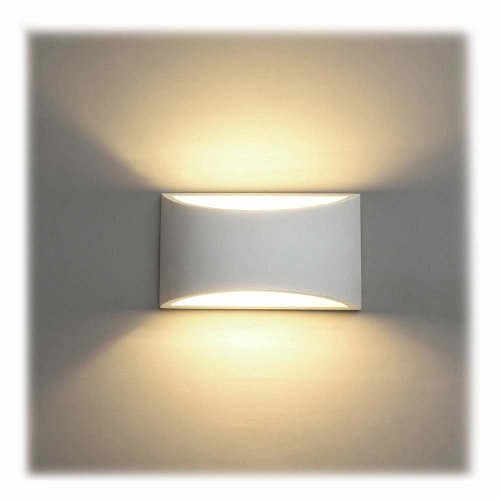 reputable site c7d13 6eabc LED Wall Lights Indoor Modern White Plaster Wall Wash Lights 7W Warm White  LED Sconce Up and Down Wall Lamp for Living Room, Bedroom, Hallway (G9...