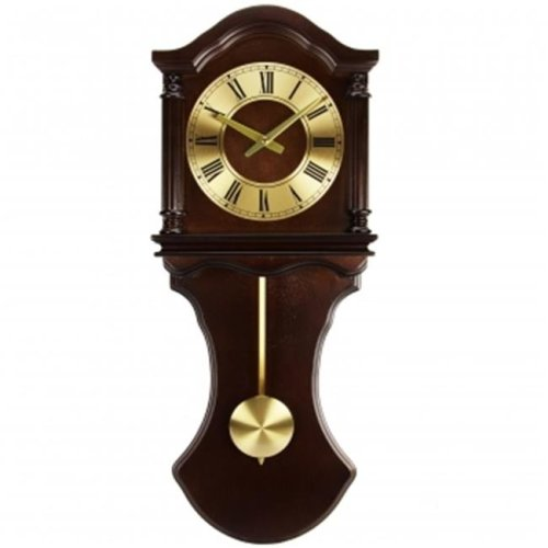 Bedford Clock Collection BED1712 Chocolate Wood Wall Clock with Pendulum & Chimes
