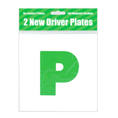 County Stationery Magnetic Green New Driver P Plates (Pack Of 2)