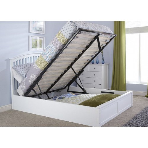 4ft6 Double Madrid Ottoman End Lift Bed in White With Curved Headboard