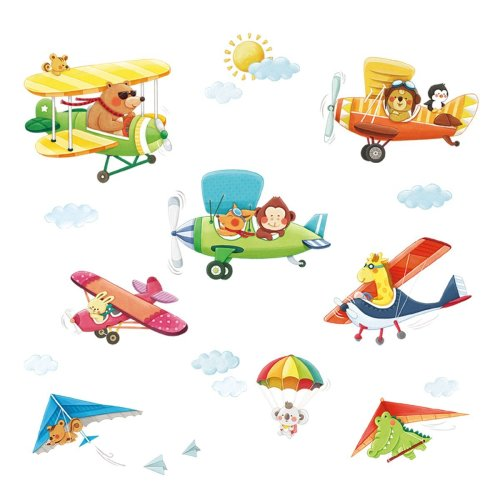 Decowall DA-1506BC Animal Biplanes with Hang Glider Kids Wall Stickers Wall  Decals Peel and Stick Removable Wall Stickers for Kids Nursery Bedroom