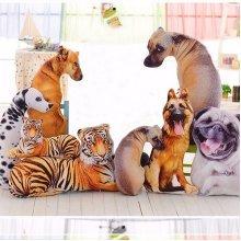 Kawaii 3D Simulation Animal Pillow Plush Printed Samoyed Husky Dog Tiger