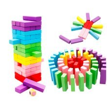 Wooden Toys Stacking Board Game Building Blocks For Kids 48 Pieces Set With Dice