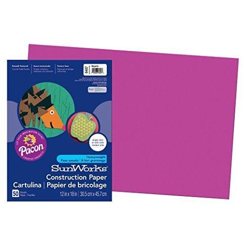 Pacon SunWorks Construction Paper 12 x 18 50 Count Magenta 6407