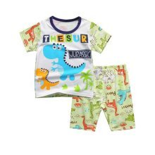 Fashion Boys Dinosaur Pajamas Children Clothes Set 100% Cotton Kids Sleepwear