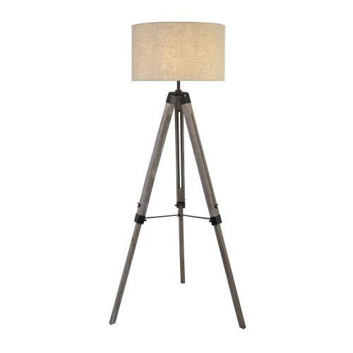 Tripod Wood Floor Standard Lamp Light With Cream Linen Shade Adjustable Stand