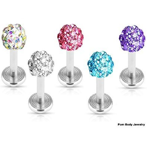 Multi Crystal Ferido ( Disco Ball ) Crystal Encrusted Ball Labret or Cartilage or Tragus Bar Earring