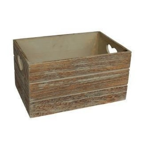 Small Oak Effect Heart Cut Handle Wooden Storage Crate
